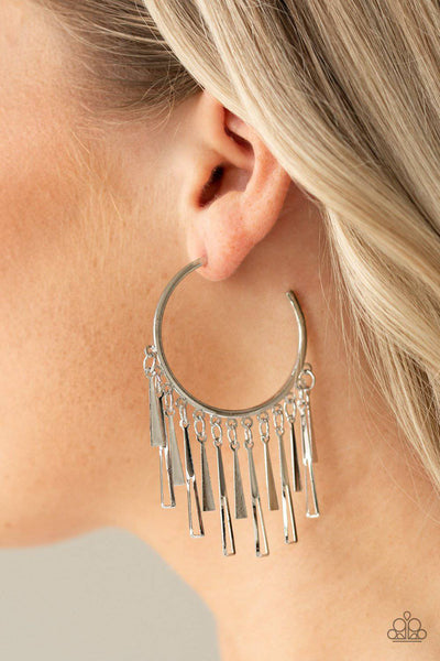Bring The Noise - Silver Earrings - Paparazzi Accessories - GlaMarous Titi Jewels