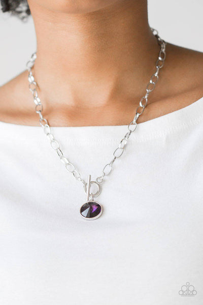 She Sparkles On - Purple Gem Necklace - Paparazzi Accessories - GlaMarous Titi Jewels