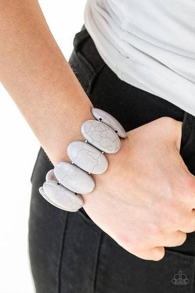 Dramatically Nomadic - Silver Stone Stretchy Bracelet - Paparazzi Accessories - GlaMarous Titi Jewels