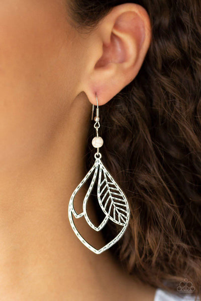 Absolutely Airborne - White Feather Earrings - Paparazzi Accessories - GlaMarous Titi Jewels