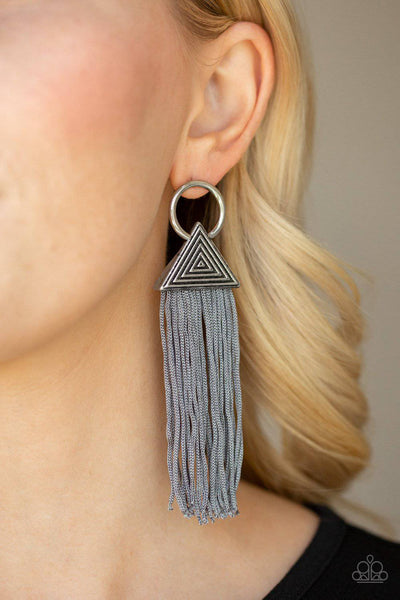 Oh My GIZA - Silver Tassel Earrings - Paparazzi Accessories - GlaMarous Titi Jewels