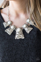 Cougar - White & Silver Necklace - Paparazzi Accessories - GlaMarous Titi Jewels