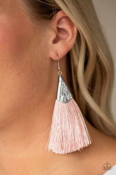 In Full PLUME - Pink Tassel Earrings - Paparazzi Accessories - GlaMarous Titi Jewels