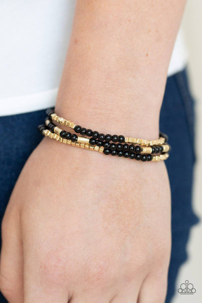 Micro Beading - Black & Gold Stretchy Bracelet - Paparazzi Accessories - GlaMarous Titi Jewels