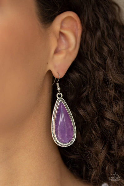 Oasis Sheen - Purple Earrings - Paparazzi Accessories - GlaMarous Titi Jewels