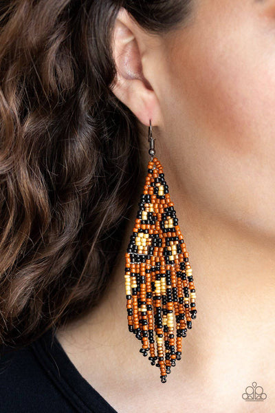 Bodacious Bombshell - Brown Seed Bead Earrings - Paparazzi Accessories - GlaMarous Titi Jewels