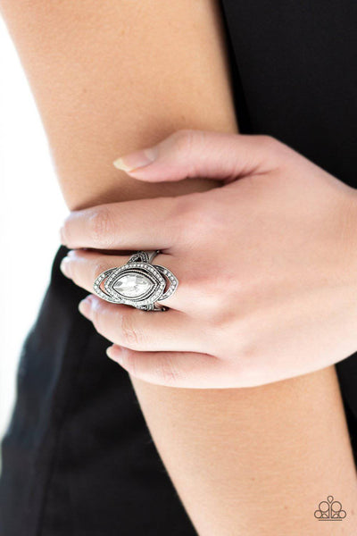 Hot Off The EMPRESS - White Rhinestone Ring - Paparazzi Accessories - GlaMarous Titi Jewels
