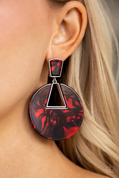 Let HEIR Rip! - Red Acrylic Post Earrings - Paparazzi Accessories - GlaMarous Titi Jewels