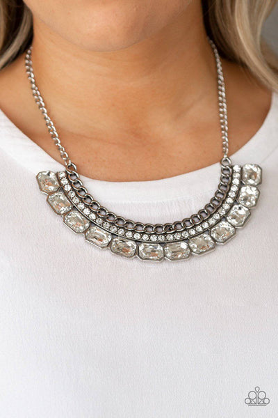 Killer Knockout - White Rhinestone Necklace - Paparazzi Accessories - GlaMarous Titi Jewels