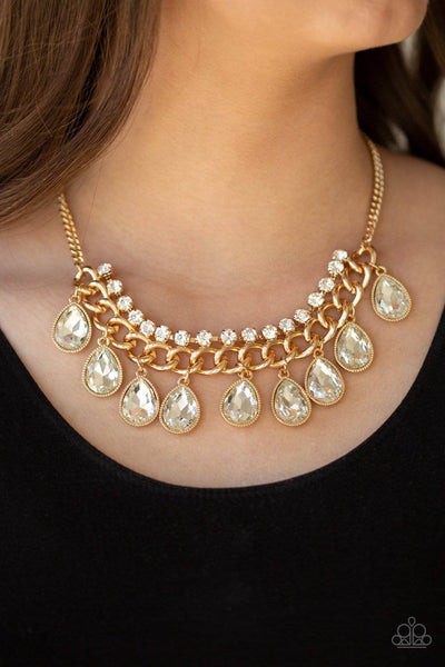 All Toget-HEIR Now - Gold Rhinestone Necklace - Paparazzi Accessories - GlaMarous Titi Jewels