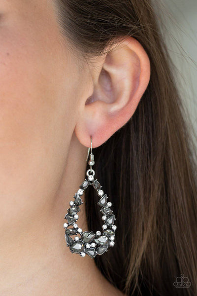 To BEDAZZLE, or Not To BEDAZZLE - Silver Rhinestone Earrings - Paparazzi Accessories - GlaMarous Titi Jewels