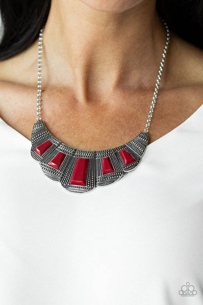 Lion Den - Red Necklace - Paparazzi Accessories - GlaMarous Titi Jewels