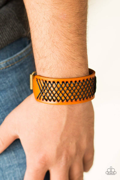 Cross The Line - Brown Leather Bracelet - Paparazzi Accessories - GlaMarous Titi Jewels