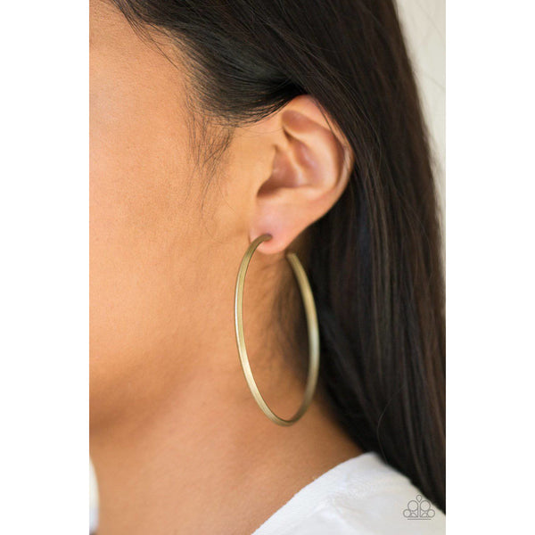5th Avenue Attitude - Brass Hoop Earrings - Paparazzi Accessories - GlaMarous Titi Jewels