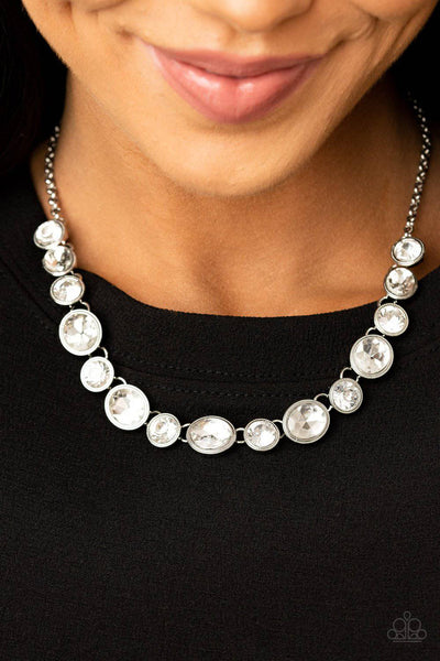 Girl's Gotta Glow - November 2020 LOTP White Rhinestone Necklace - Paparazzi - GlaMarous Titi Jewels