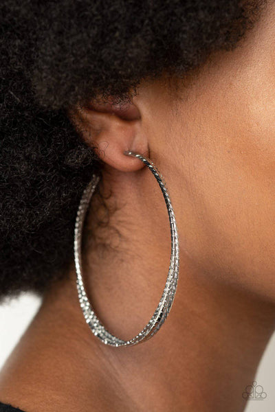 Watch and Learn - Silver Hoop Earrings - Paparazzi Accessories - GlaMarous Titi Jewels