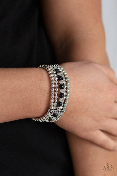 Gloss Over The Details - Black Beads Bracelet - Paparazzi Accessories - GlaMarous Titi Jewels