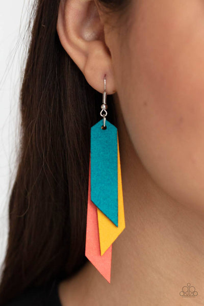 Suede Shade - Multi Suede Leather Earrings - Paparazzi Accessories - GlaMarous Titi Jewels