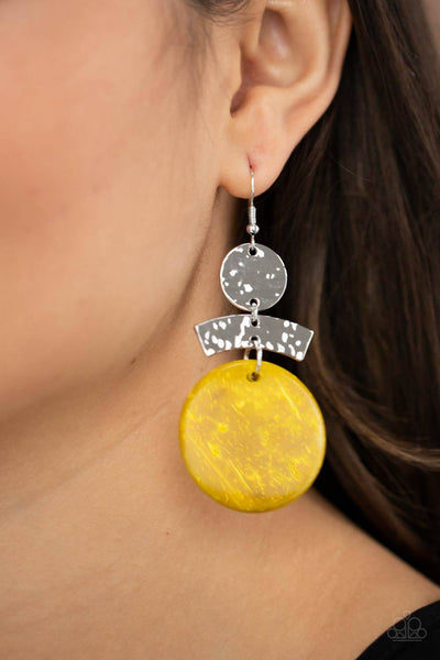 Diva Of My Domain - Yellow Wooden Earrings - Paparazzi Accessories - GlaMarous Titi Jewels