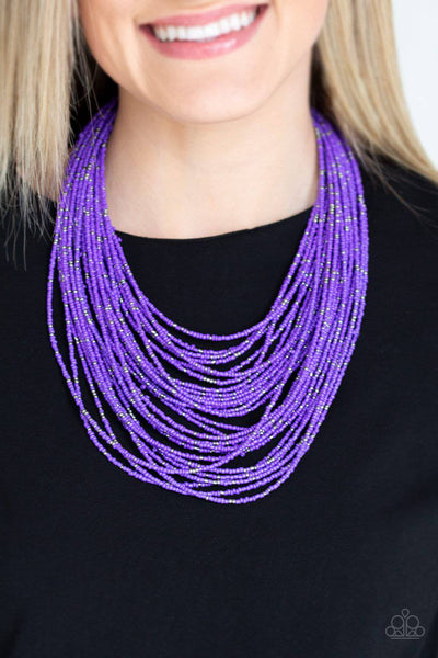 Rio Rainforest - Purple Seed Bead Necklace - Paparazzi Accessories - GlaMarous Titi Jewels