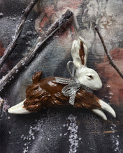 Load image into Gallery viewer, Jumping Bunny Brooch (White and Brown)