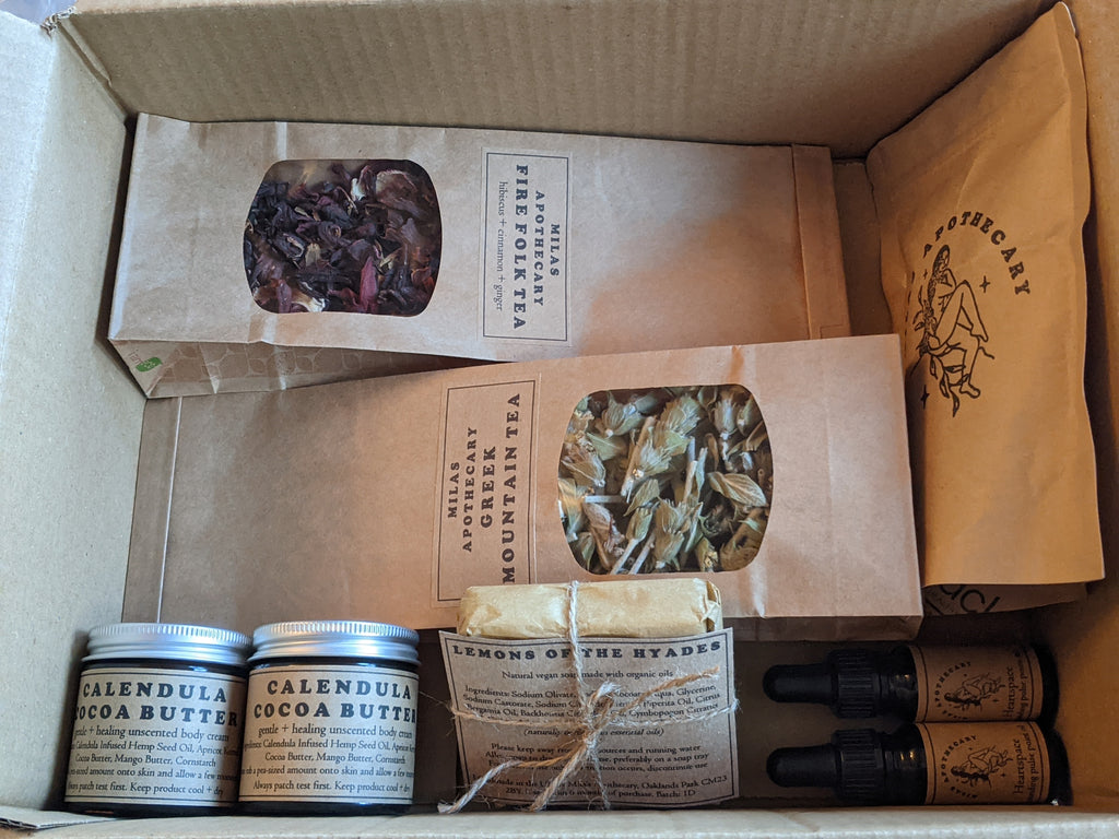 herbal skincare, soap and herbal tea package for women refugees