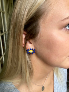 Navy + Yellow Beaded Eye Studs