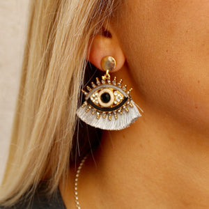 Silver Tassel Eye Earrings