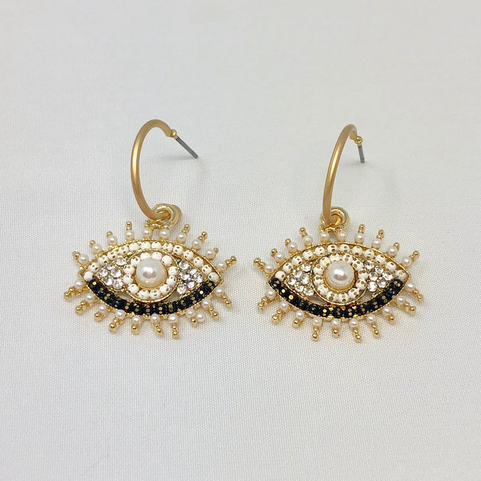 Pearl + Rhinestone Eye Hoops