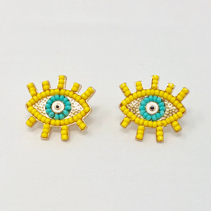 Yellow Beaded Eye Studs