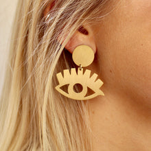 Load image into Gallery viewer, Gold Eye Babe Earrings