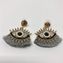 Load image into Gallery viewer, Silver Tassel Eye Earrings