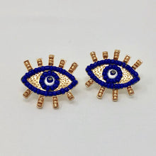 Load image into Gallery viewer, Navy on Navy Beaded Eye Studs