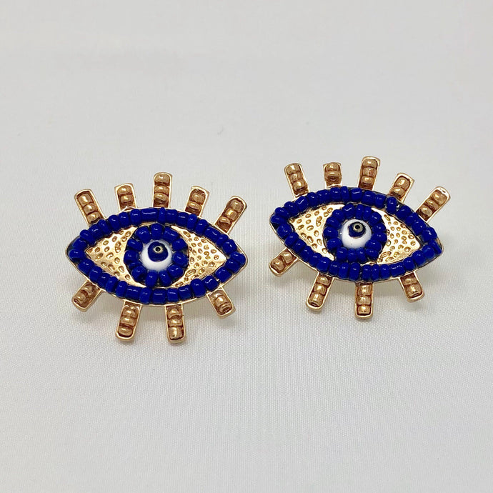 Navy on Navy Beaded Eye Studs