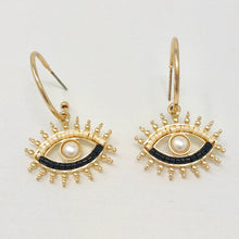Load image into Gallery viewer, Metallic Eye Mini Hoops (Cream)