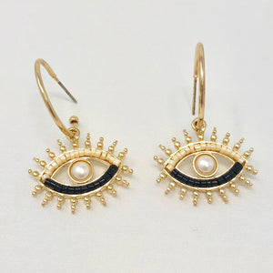 Metallic Eye Mini Hoops (Cream)