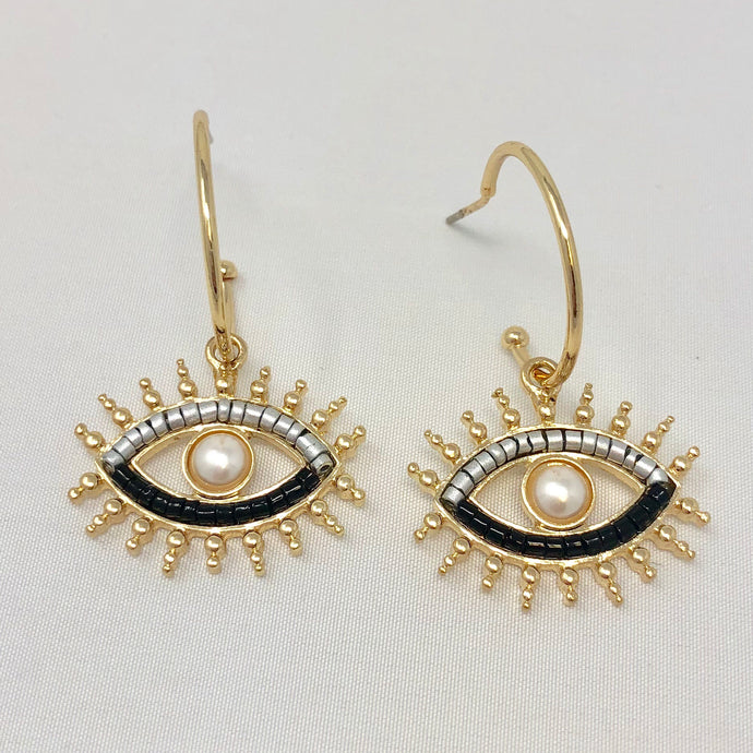 Metallic Eye Mini Hoops (silver beads)