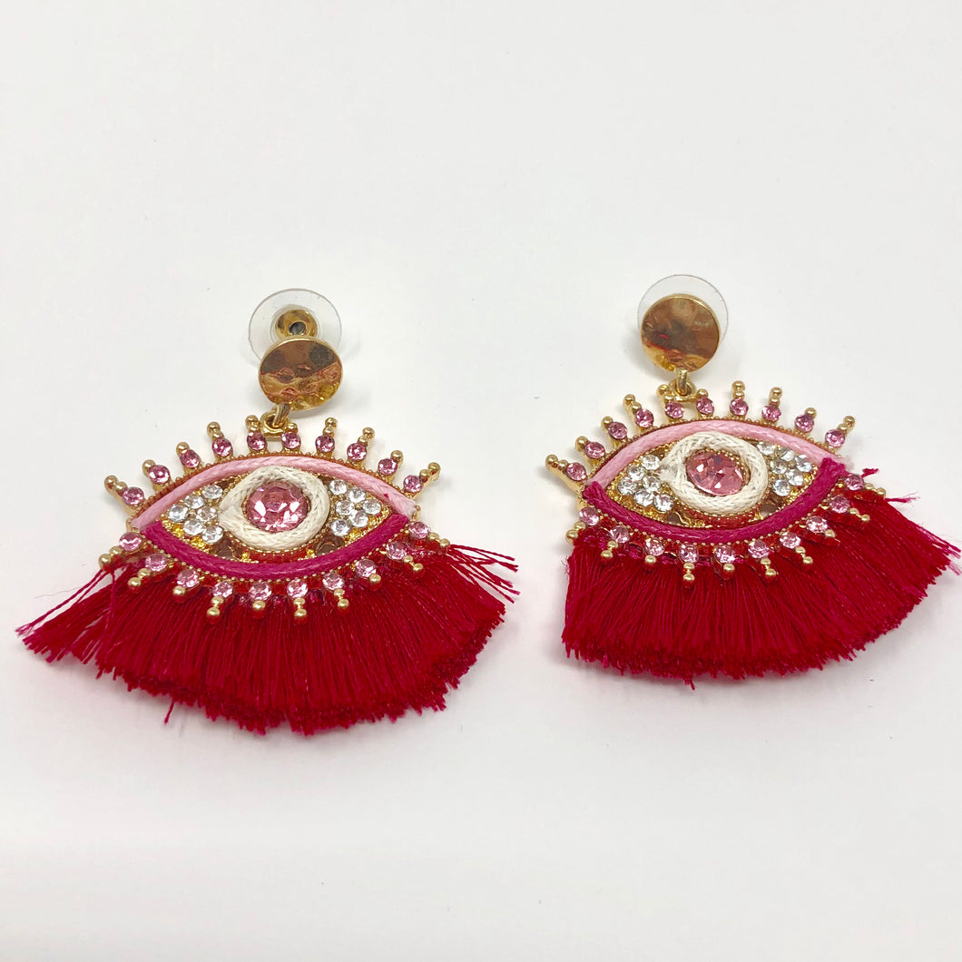 Hot Pink Tassel Earring