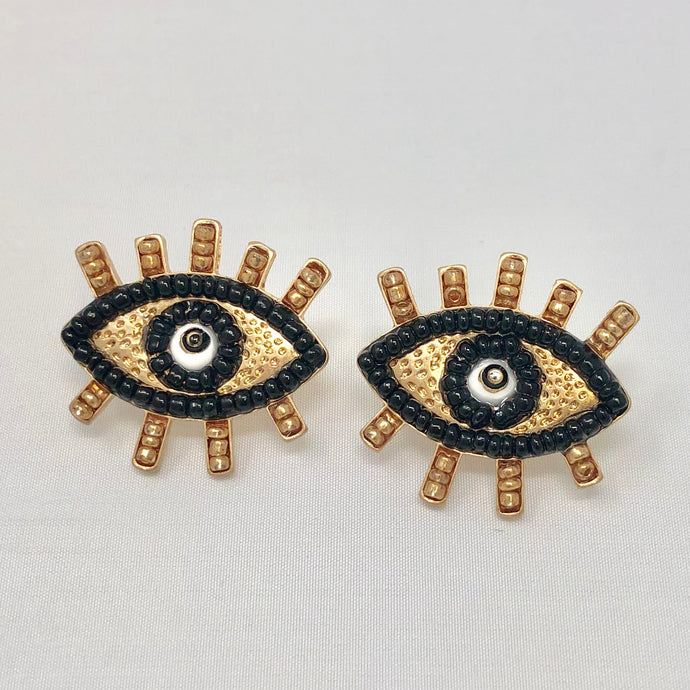 Black Beaded Eye Studs