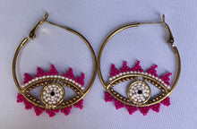 Load image into Gallery viewer, Pink Beaded Eye Hoops