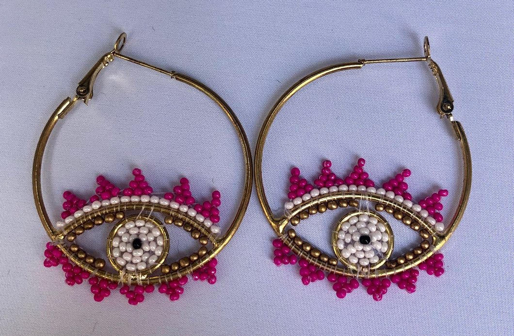 Pink Beaded Eye Hoops