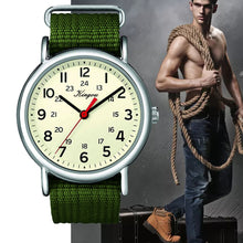 Load image into Gallery viewer, Hot Stylish Cool Men's Watch Arabic Numerals 24 Hour Military Time Nylon Belt Watch Clock Men Quartz WristWatch Reloj Hombre #F