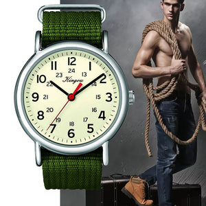 Hot Stylish Cool Men's Watch Arabic Numerals 24 Hour Military Time Nylon Belt Watch Clock Men Quartz WristWatch Reloj Hombre #F