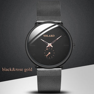 Business Men's Watch Creative Blue Pointer Mesh Belt Ultra-thin Quartz Sports And Leisure Watch Clock Men Gift Relogio Masculino