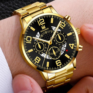 Men's Business Watch Luxury Stainless Steel Strap Casual Waterproof Quartz Watches Men Date Calendar Display Wrist Watch Clock
