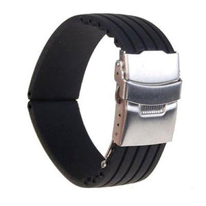 18/20/22/24mm Waterproof Striped Silicone Watch Band Strap Deployment Buckle Watchband Wristband for Men's Women's Watch