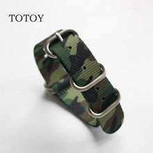 Load image into Gallery viewer, TOTOY Camouflage Nylon Watchbands NATO Strap 18MM 20MM 22MM 24MM,Sport Camouflage Nylon Watch Strap, Men and Women's Wristband