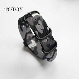 TOTOY Camouflage Nylon Watchbands NATO Strap 18MM 20MM 22MM 24MM,Sport Camouflage Nylon Watch Strap, Men and Women's Wristband