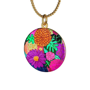 Floral Art Single Loop Necklace