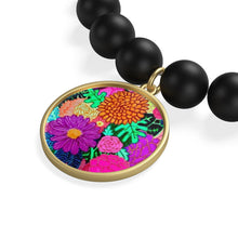 Load image into Gallery viewer, Floral Art Matte Onyx Bracelet